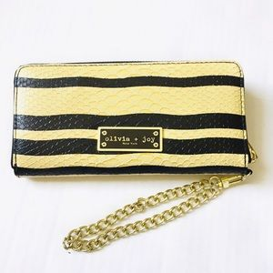 Olivia & Joy Snake Embossed Anaconda Stripe Wallet